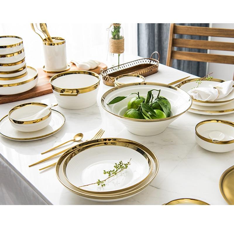 Инкрустацией золотом однотонные белые Керамика пластин Еда блюда посуда