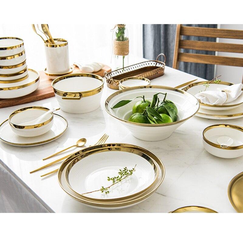 Инкрустацией золотом однотонные белые керамические тарелки Еда блюд, набор столовой посуды белого золота тарелку