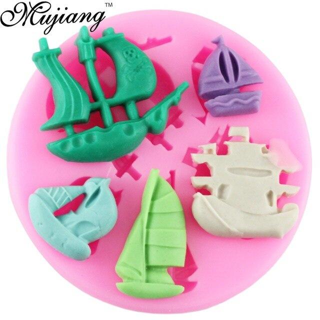 DIY Barco Pirata moldes de silicona fondant chocolate cake moldes ...