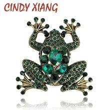 Broches de rana de cristal CINDY XIANG para mujer, broche de Animal de Color verde, Pin de lujo Vintage, abrigo con joyas, accesorios Bijouterie