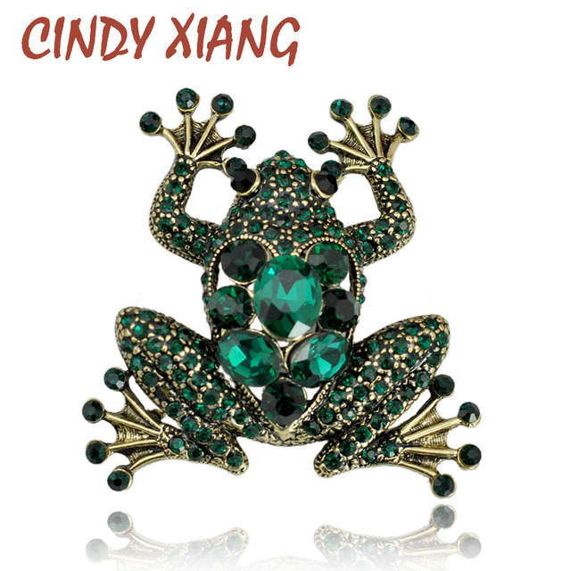 CINDY XIANG Crystal Frog Brooches for Women Green Color Animal Brooch Pin Luxury