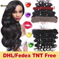 8A Brazilian Lace Frontal Closure With Baby Hair 13X2 Ear To Ear Virgin Human Hair Body Wave Lace Frontal Closure Bleached knots