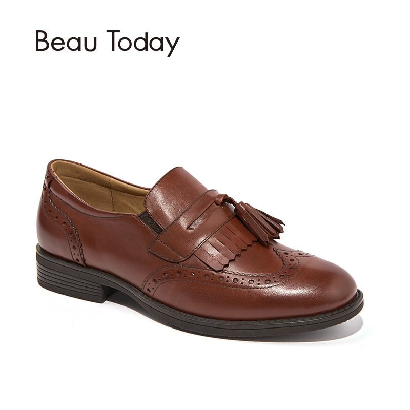 BeauToday Oxfords Women Top Quality Genuine Calf Leather Fringe Brogue Style Casual Flats Lady Shoes Handmade 27077 fringe sleeve top