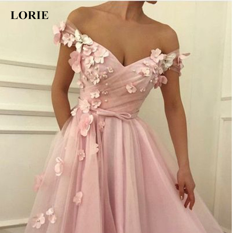 LORIE Pink Prom Dresses off the shoulder Flowers Appliques Soft Tulle A-line Formal Evening Party Gowns Plus Size Custom Made
