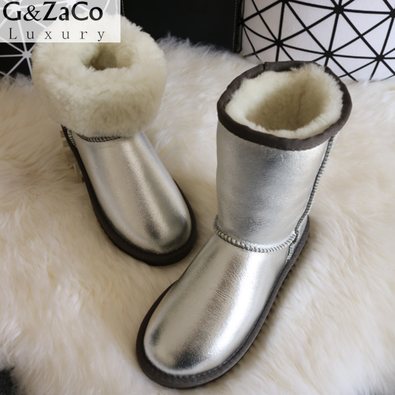 G&Zaco Luxury Sheepskin Snow Boots Natural Wool Sheep Fur In One  Boots Middle Button Waterproof Women Winter Wool Boots luxury women classic snow boots waterproof sheepskin wool one natural wool inside fur boots crystal buckle warm winter shoes