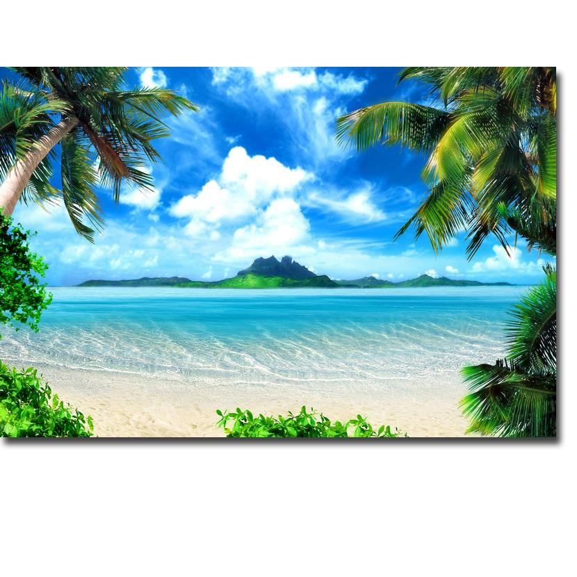Tropical Beach And Peaceful Ocean: NICOLESHENTING Tropical Beach Ocean Sea Waves Art Silk