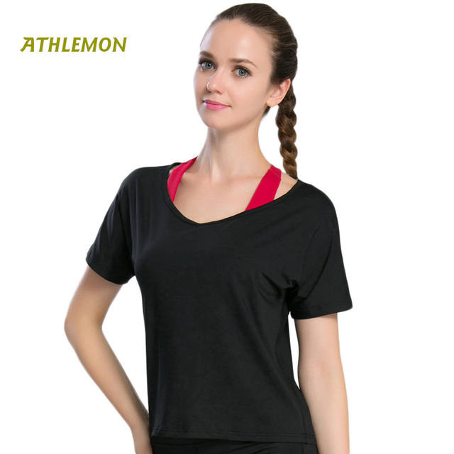 a7a968c190673 Short Sleeve Backless Women T-shirt Sport Bra Running Workout Sports Wear  For Women Gym Summer Fitness Shirt Sportkleding Vrouwe