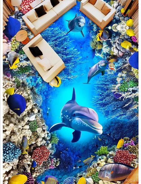 Tùy chỉnh 3d ảnh nền Sea world dolphin san hô 3 d vẽ 3D sàn 3d