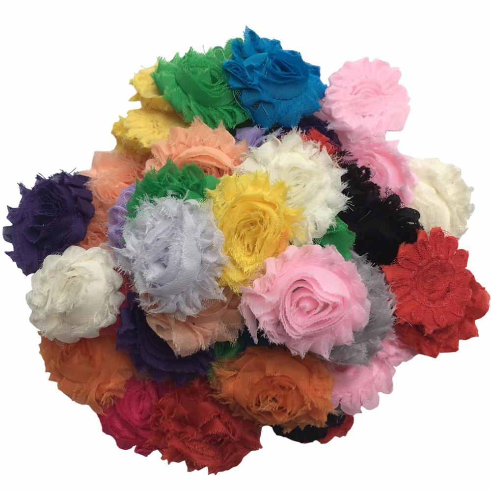 Online get cheap diy fabric flowers aliexpress alibaba group 50pcslot diy shabby chiffon fabric hair flowers single flowers solids color mix dhlflorist Choice Image