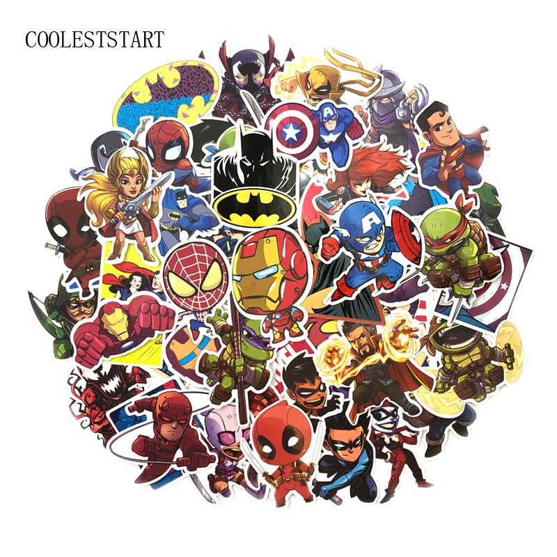 100 Pcs Set Super Hero Stickers for Luggage Laptop Skateboard Bicycle Motorcycle Car Toy Decals PVC
