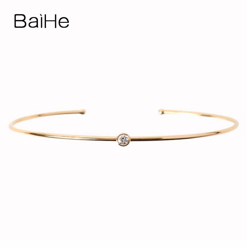 BAIHE Solid 14K Yellow Gold(AU585) 0.10ct H/SI 100% Genuine Natural Diamond Wedding Women Trendy Elegance Sweetness Gift Bangles цена