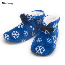 New Winter Warm Cotton-padded Shoes Skid Soft Bottom Indoor Home Shoes Warm Plush Indoor Boots For Men  Floors Shoes