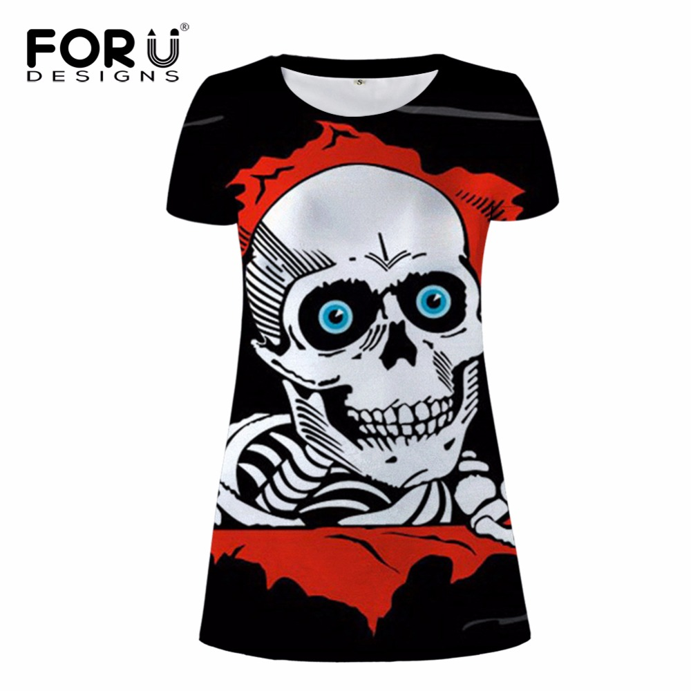 FORUDESIGNS Stylish Apparel Store FORUDESIGNS Punk Style Women Summer Dress 3D Skull Prints Woman Casual Dresses For Teen Girls Sexy Beach Dresses Vestidos Mujer