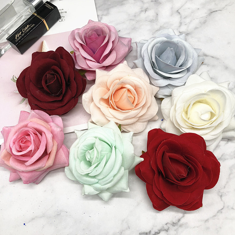 5 PCS/artificial silk roses head home decoration/DIY wedding clothing shoes and hats collage decorative artificial flowers