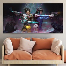 Tracer And Dva Overwatch Girls Painting On Canvas Print Type The Wall Decorative Artwork 1 Panel Style Game Poster