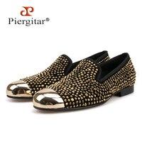 Piergitar/2018 gold toe и золотой кристалл мужские лоферы Модные мужские кожаные тапочки праздничная и Свадебная обувь Мужские модельные туфли мужск