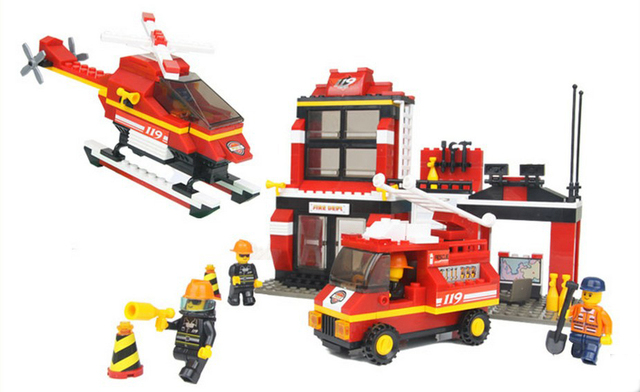 Brand New High Quality ABS Fire Station Brick Toys Kids Educational Building Blocks Set of 371 Pieces