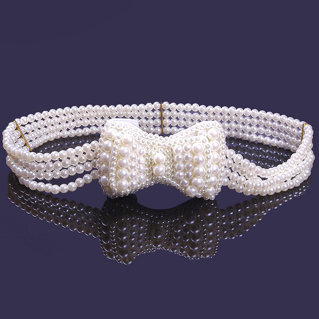 2017 Hot Sale Sweet Elastic Wedding Belt with White Pearl Bow Decoration Elegent Bridal Evening Prom Party Sash cinturon de PF21
