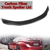 Для Infiniti Q50 2014 2018 Реальные углеродного волокна багажнике автомобиля спойлер крышка подходит Highkick Алюминий заднее крыло спойлер сзади ствол