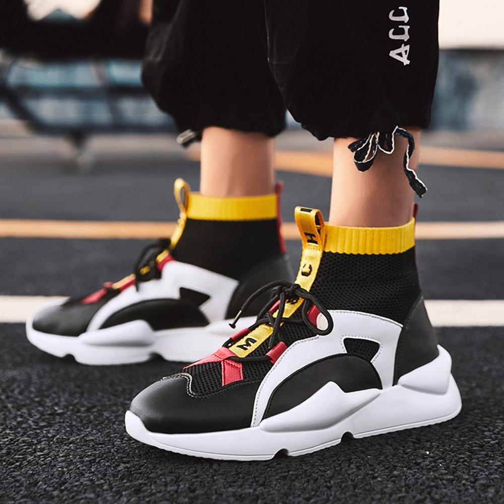 Dos Cores Hombre Sapatos Preto Zapatos De amarelo Misturadas Malha Plana branco 2019 Homens Vulcanize Respirável Baratos Lace up Nova Mens Moda gvxTq77