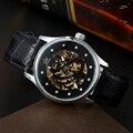Sewor relógios homens top venda de ouro da moda de luxo negócio de couro mecânico automático dos homens relógio de pulso esportes relógio waches