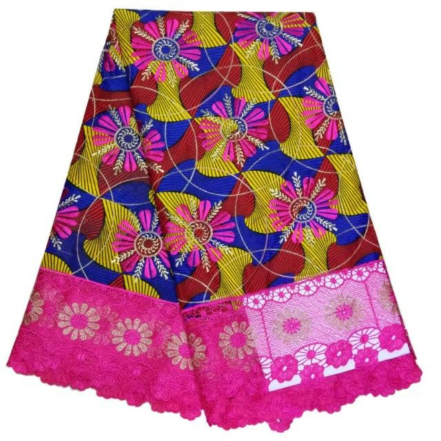 6Y/pc Most popular african printed wax fabric with fuchsia water soluble flower deisgn french cord lace for dress LBL30-1