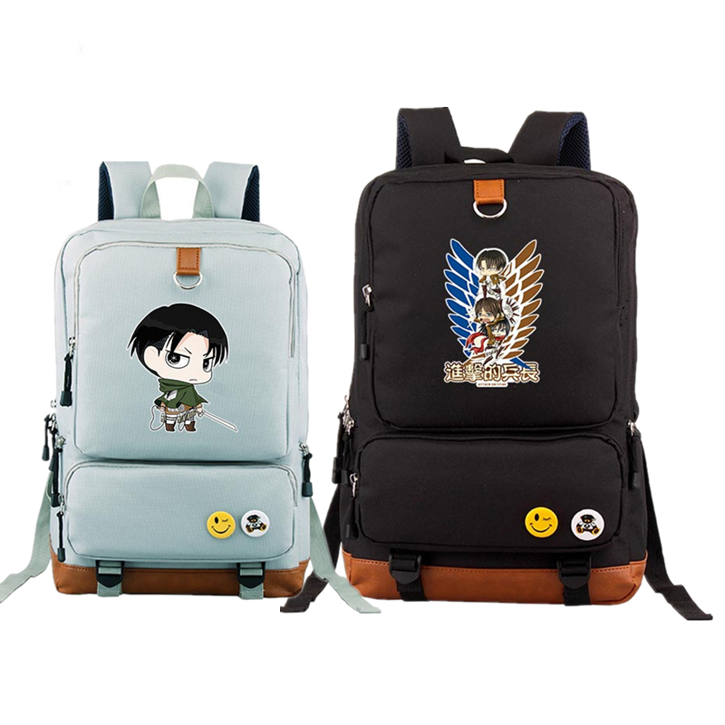 2017 Japanese Anime Attack on Titan Levi Cosplay Printing Canvas Backpack School Backpacks for Teenage Girls Fashion Laptop Bags цена
