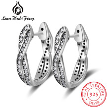 Vintage Nyata Murni 925 Sterling Silver Cubic Zirconia Hoop Earrings Twisted Lingkaran Earrings Untuk Wanita Perhiasan (Lam Hub Fong)