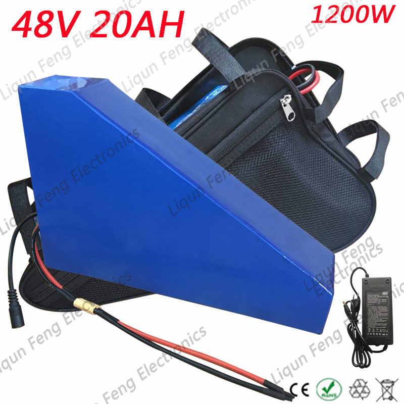 Free customs 1200W 48V 20AH triangle battery 48 V 20AH lithium battery pack use 3.7V 2600mah 18650 cell With free bag 30A BMS