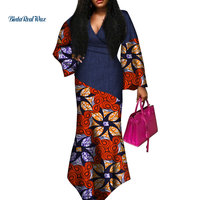 Sexy V neck Dresses African Clothing Dashiki African Dresses for Women Bazin Riche Patchwork Print Long Dresses WY3646