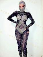 Sexy Rompers Glisten Black Rhinestones Jumpsuit Flashing Outfit Shining Sexy Headdress Party Costume Body Suits Dance Wear