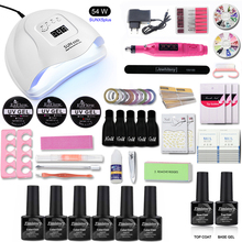 Nail Set 54W/36W UV Lamp Manicure 6 Color Gel Varnish Drill Machine Kit File Tool  Extension kit