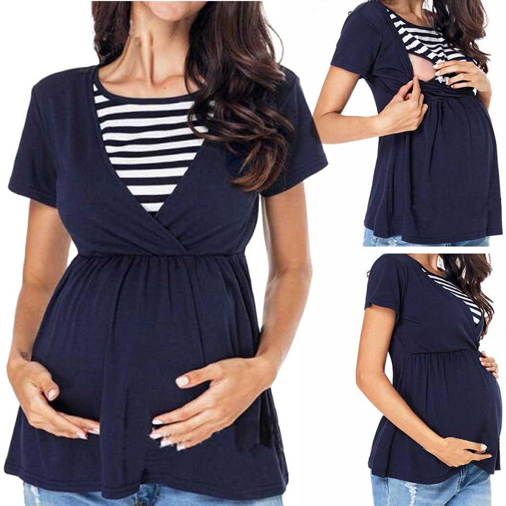Fashion Pregnant Women Striped Stitching Breastfeeding Shirt Ladies Care Shirt Cotton O-neck Breastfeeding Casual T-shirt 2019