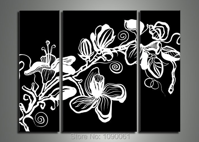 hand painted black white canvas painting pictures of flowers modern abstract 3 piece wall art. Black Bedroom Furniture Sets. Home Design Ideas