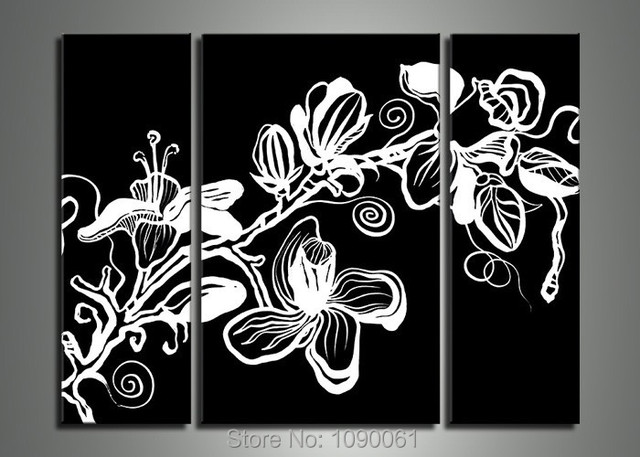 Hand Painted Black White Canvas Painting Pictures Of Flowers Modern