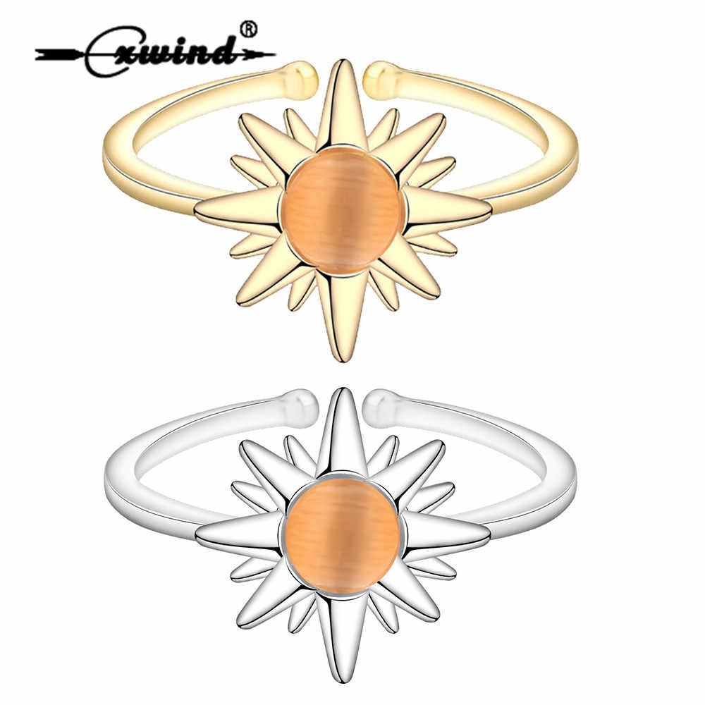 Cxwind New Fashion Sun Flower Rings Jewelry Femme Cute  Sunflower Crystal Wedding Open Rings for Women bague homme