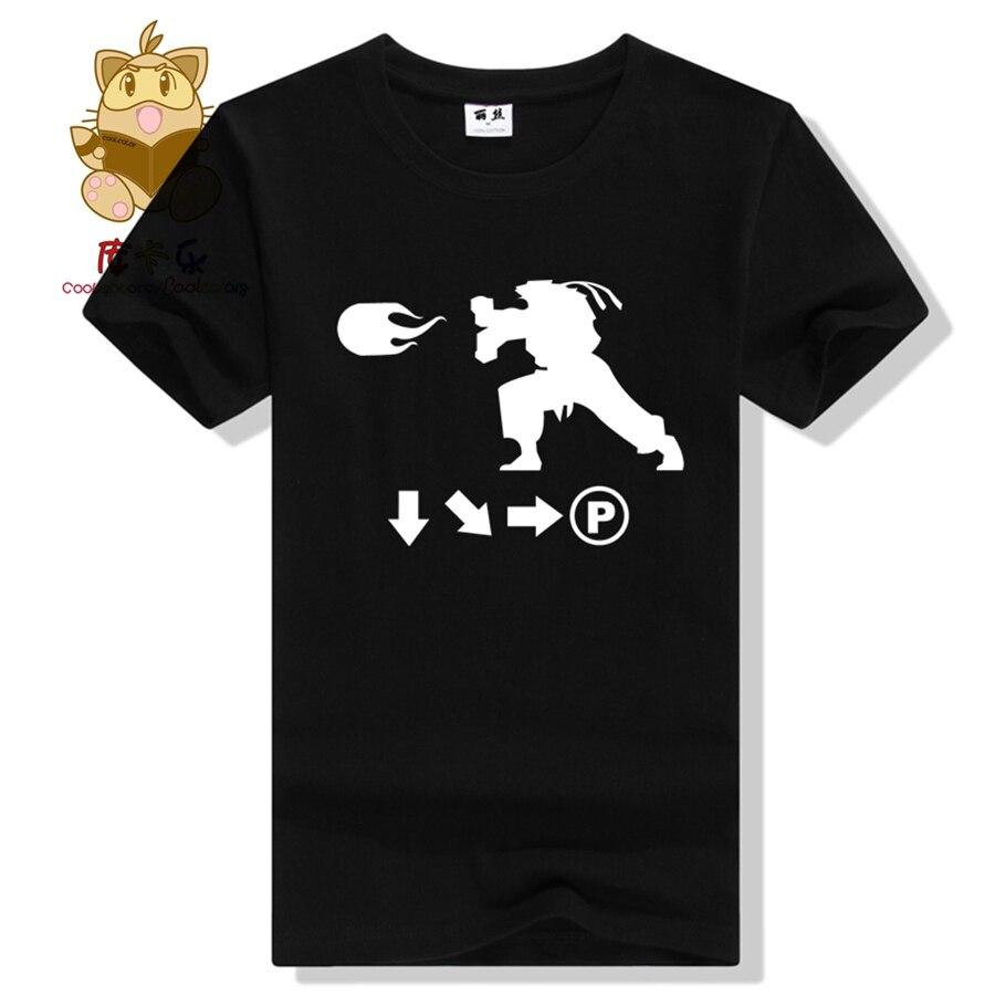 Hot FTG Super street fighter fans tee shirt hot character Ryu combo list Hadoken t shirt for game fans SF t shirt AC343