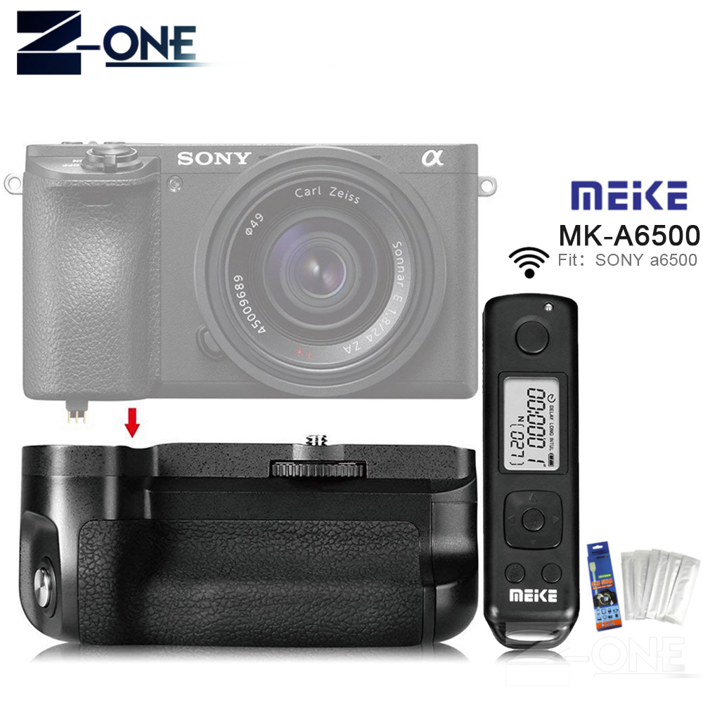Meike MK-A6500 Pro Battery Grip Built-in 2.4Ghz Remote Controller Up to 100M For Sony A6500 with Rremote Control Vertical-Shoot meike mk 760d pro built in 2 4g wireless control battery grip suit for canon 750d 760d as bg e18
