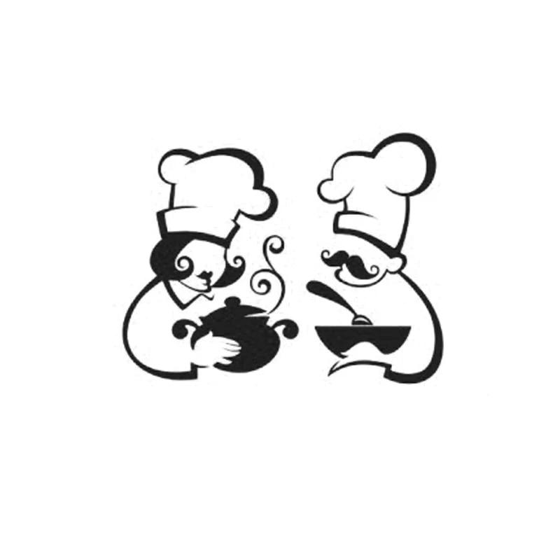 Kucada Cartoon Chef Man Cute Wall Sticker For Home Decoration Removable Kitchen Decal Black Decor Wp1519 Stickers Aliexpress