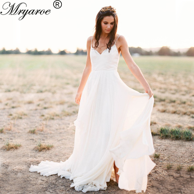 Mryarce simple elegant sexy chiffon flowy rustic country for Plain wedding dresses with straps