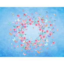 Custom Newborn Birthday Vinyl Photography Background Colorful Garland Butterfly Dream Children Backdrops for Photo Studio S-2753