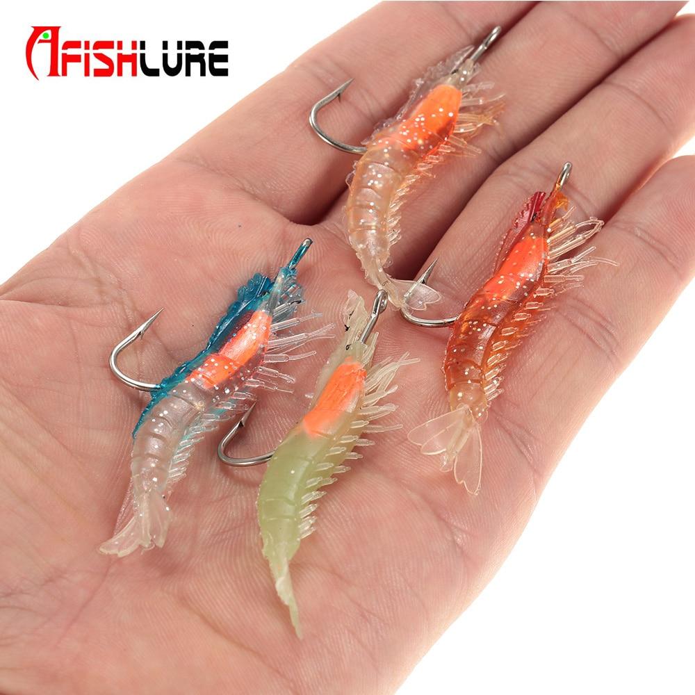Afishlue 4 Pcs/lot Fishing Bait 6cm 3g Lifesaving Fishing Lures Soft Lures Hooks Shrimps Soft Lure Locks Souple Crankbait Pesca litopenaeus setiferus