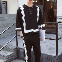 Vintage Track Suit Spring Summer Casual Jogger Sweatpant Hip Hop Mens Set Contrast Square Shape Men's Sportwear Suit Black White