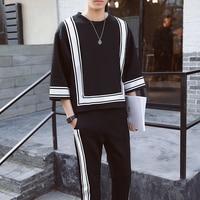 Vintage Track Suit Spring Summer Casual Jogger Sweatpant Hip Hop Mens Set Contrast Square Shape Men's Sportwear Suit Black White