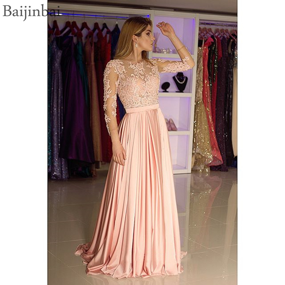 Baijinbai O-neck   Prom   Evening   Dress   Three Quarter Sleeves Lace A-Line Formal   Dresses   Long robe de soiree Chiffon Party Gowns