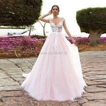 魅力的なピンクの花のアップリケのウェディングドレス2021スクープネックaラインヌードチュールブライダルドレスビーチ床の長さの花嫁ドレス