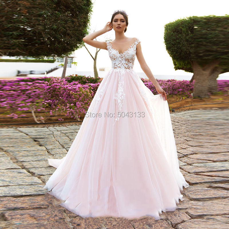 Romantic Applique Princess Pink Wedding Dresses 2020 Scoop Neck A Line Tulle Bridal Gowns Beach Floor Length Wedding Bride Dress