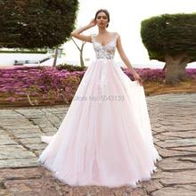 Tentant rose fleurs appliques robes de mariée 2021 encolure dégagée une ligne nue Tulle robes de mariée plage étage longueur robe de mariée