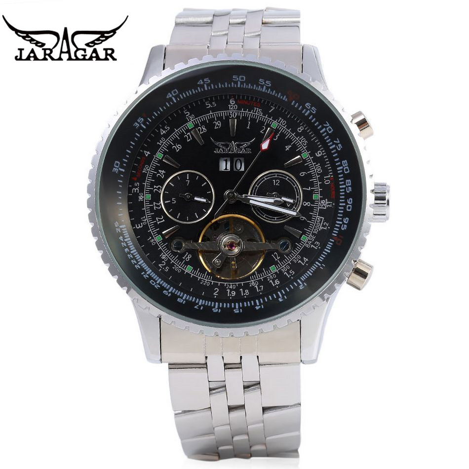 JARAGAR Men Steel Watch Auto Flywheel Day Mechanical Men's Watch Wristwatch  Gift Gift Box Free Ship  original mg orkina orologio uomo luxury day flywheel automatic mechanical watch wristwatch gift box free ship
