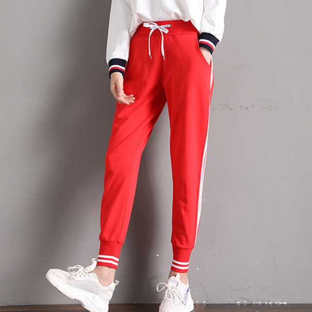 #0841 Red/Black Harem Sweatpants Women Elastic Waist Side Striped Pants Women Korean Fashion Joggers Streetwear Harajuku Tide